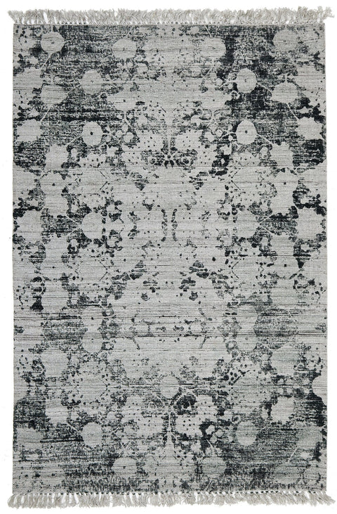 Ushuaia Green Floral Fringed Viscose Flatweave Rug