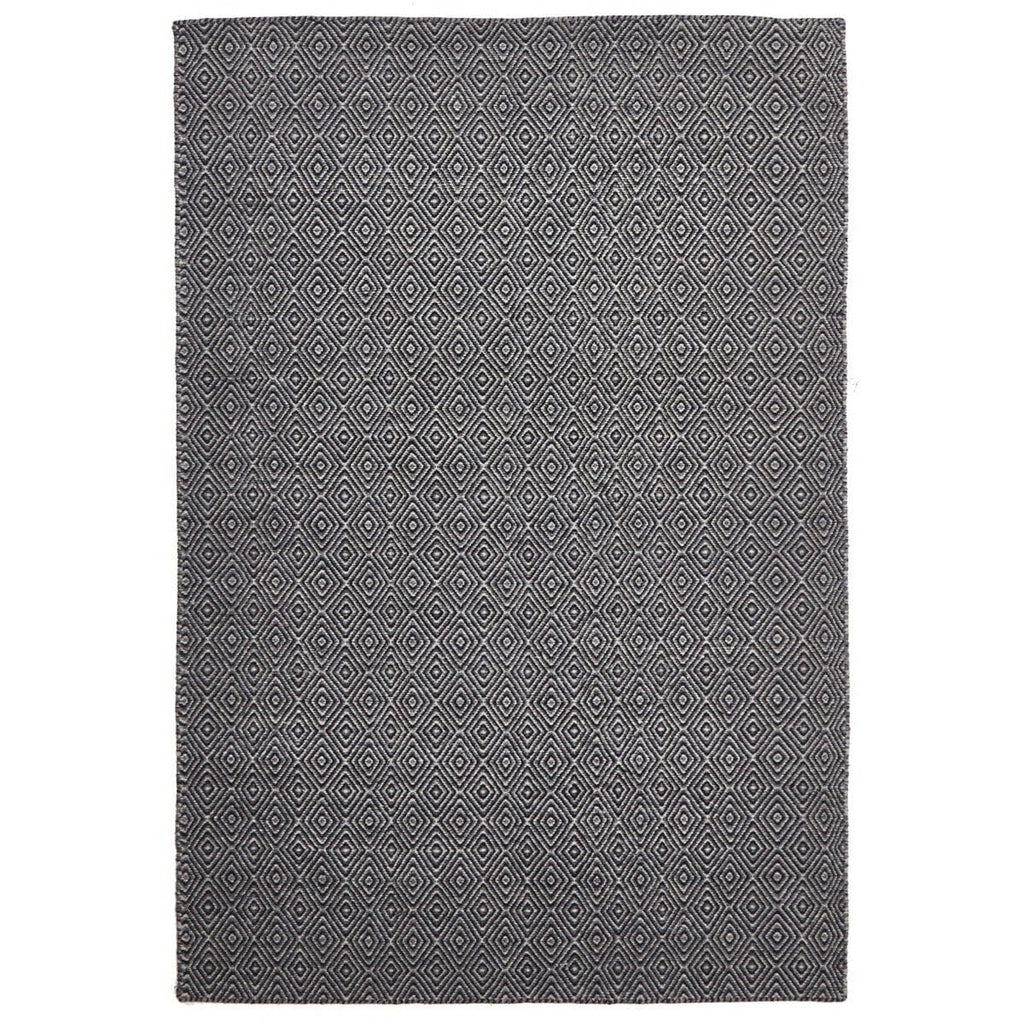 Vogar Black & Grey Diamond Wool Flatweave