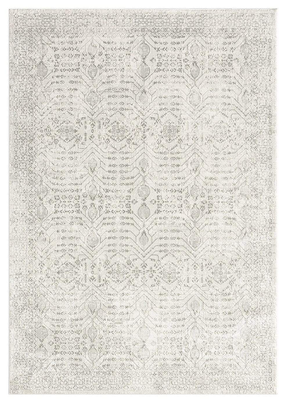 Wilamina Grey and Ivory Distressed Floral Rug