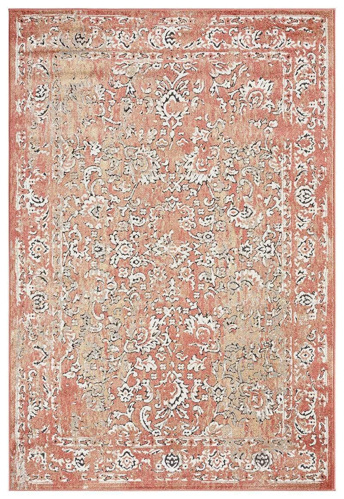 Yolanda Peach Terracotta Transitional Floral Motif Rug