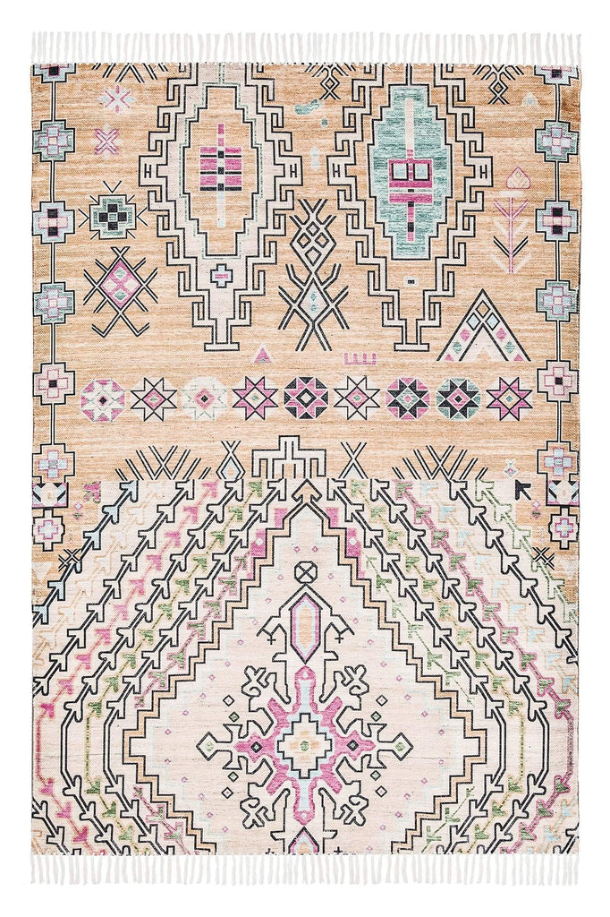 Zelda Cream Multi-Colour Abstract Tribal PET Rug