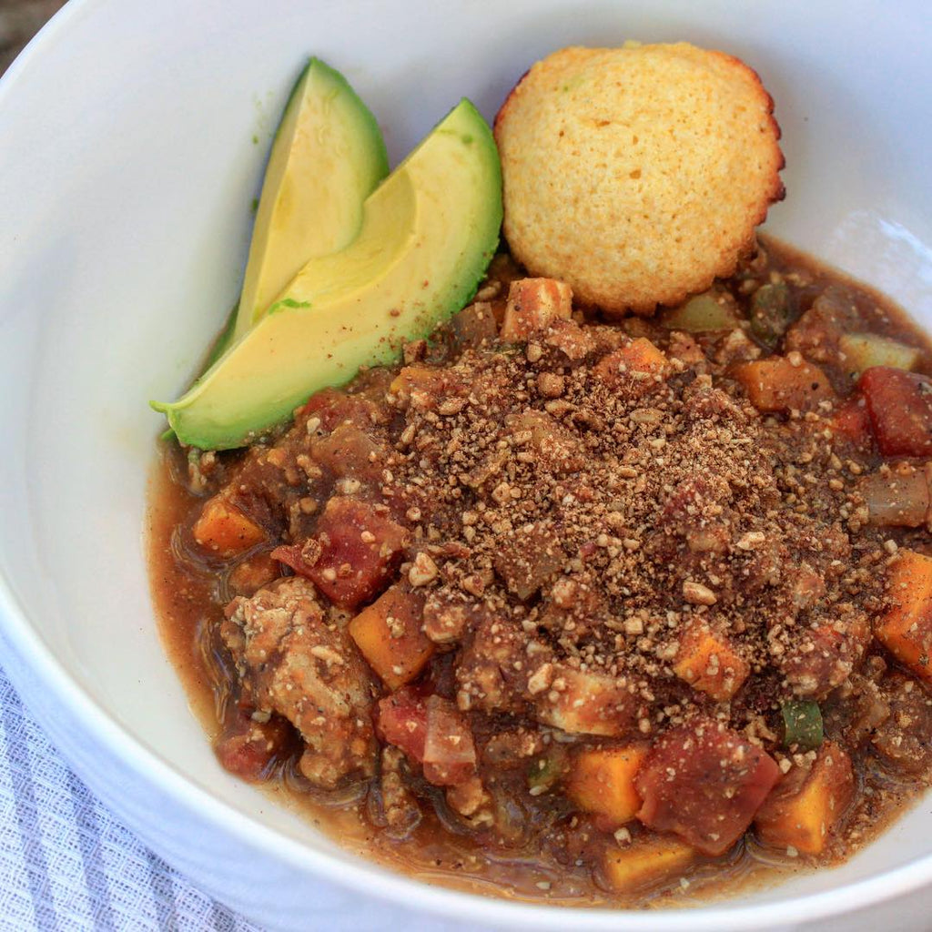 Pumpkin Spice Nut Crumbs Turkey Chili