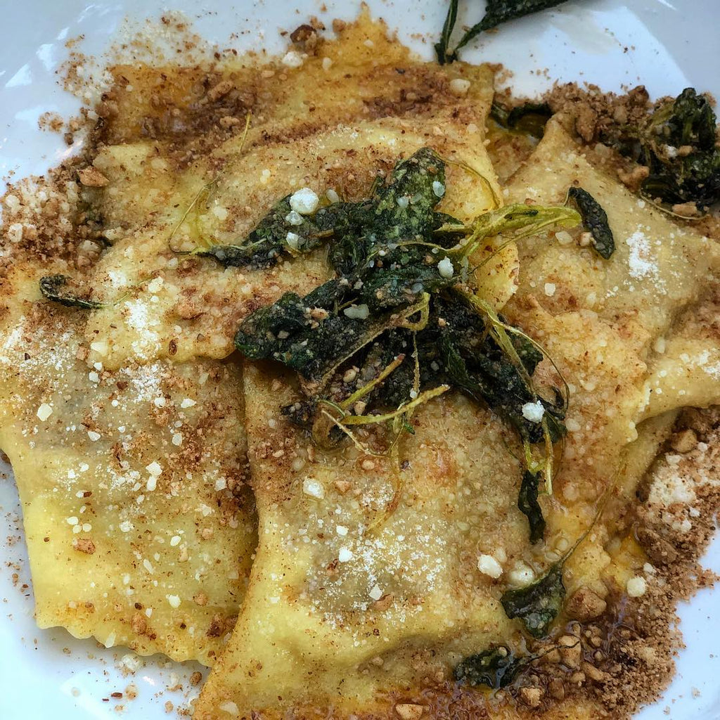 Pumpkin Spice Nut Crumbs Sweet Potato Ravioli