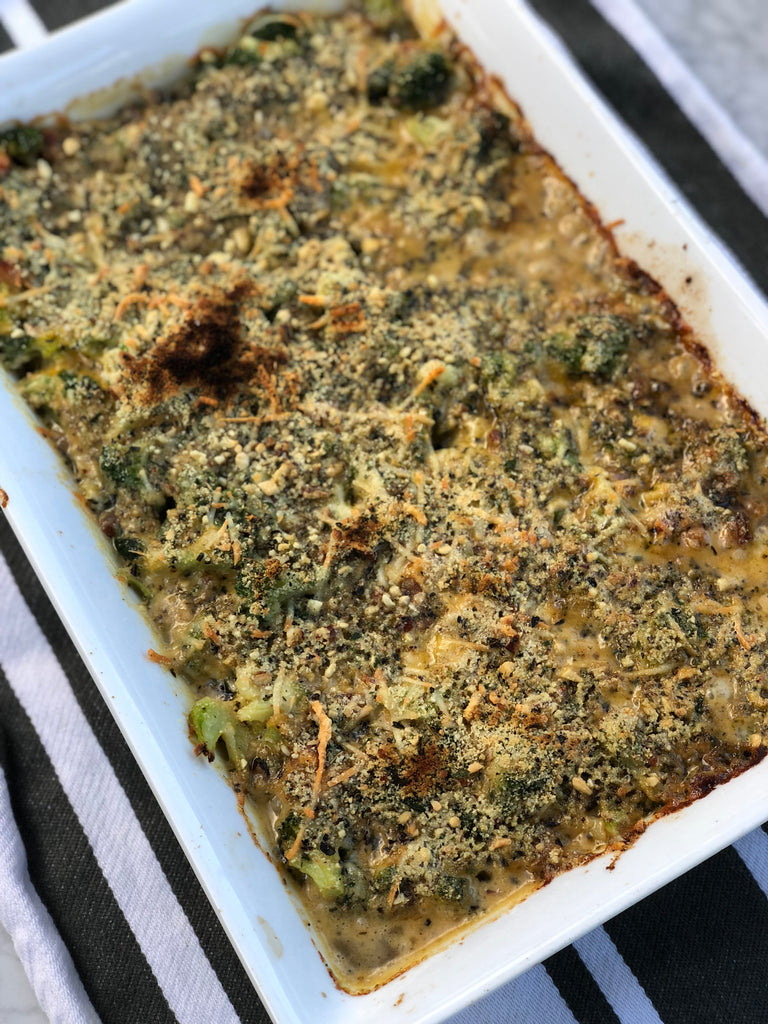 Italian Nut Crumbs Broccoli Casserole