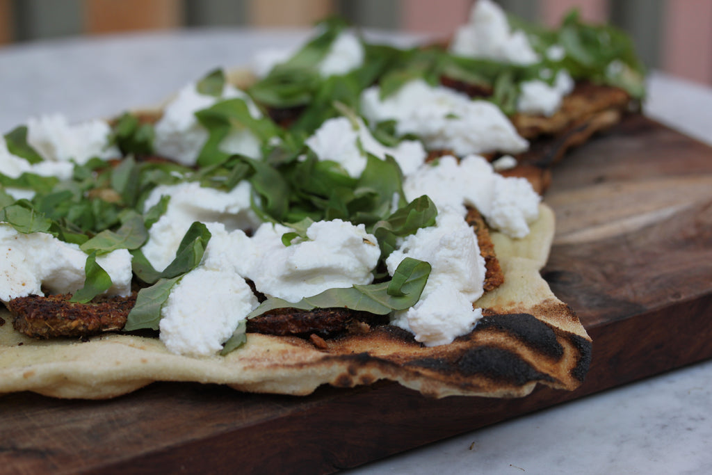 Italian Nut Crumbs Encrusted Eggplant Ricotta Grilled Pizza