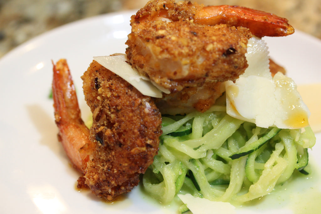Original Nut Crumbs Encrusted Shrimp Over Pesto Zucchini