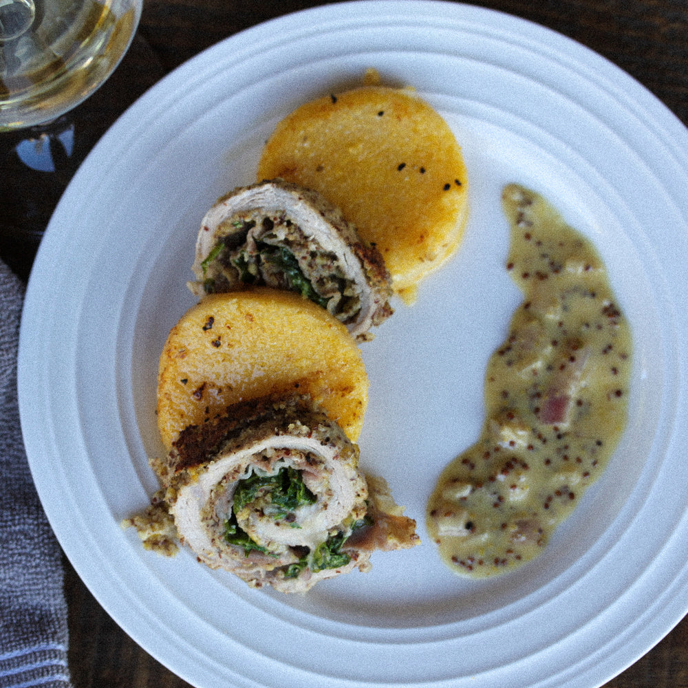 Prosciutto + Brie Stuffed Pork with a Dijon Cream Sauce