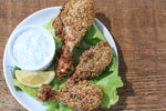 Lemon Pepper Nut Crumbs Drumsticks + Dill Yogurt Dipping Sauce
