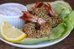 Lemon Pepper Nut Crumbs Shrimp With a Greek Yogurt Dill Dipping Sauce