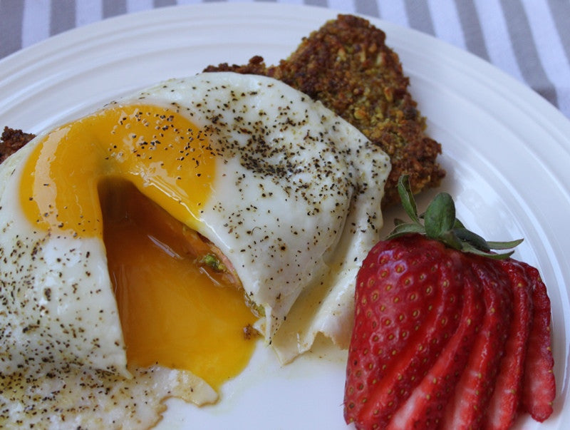 Sunny Side Up Egg Over Coconut Curry Nut Crumbs Encrusted Salmon