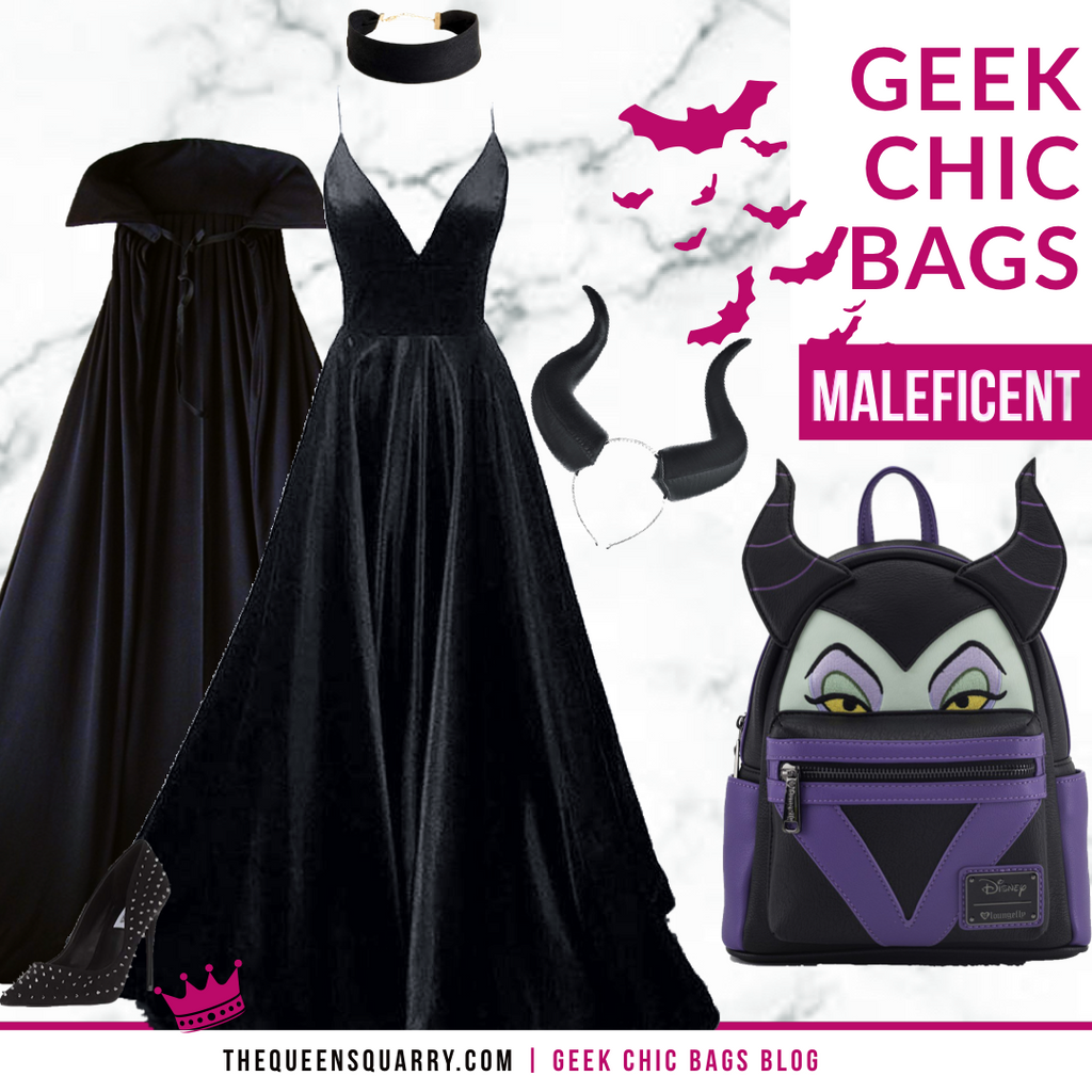 Maleficent, black dress, Halloween, backpack, horns