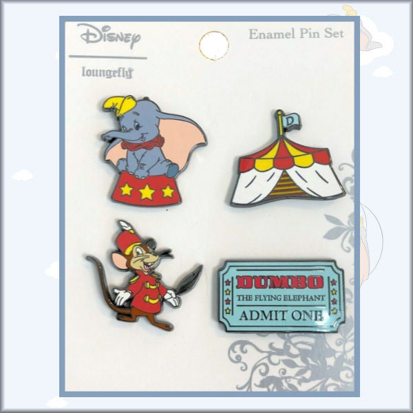 Loungefly Disney ~ Dumbo the Flying Elephant ~ 4 Enamel Pin Set