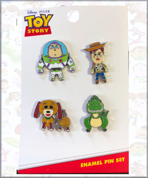 Loungefly Disney ~  Toy Story 4 Buzz Woody Slinky Rex ~ 4 Enamel Pin Set
