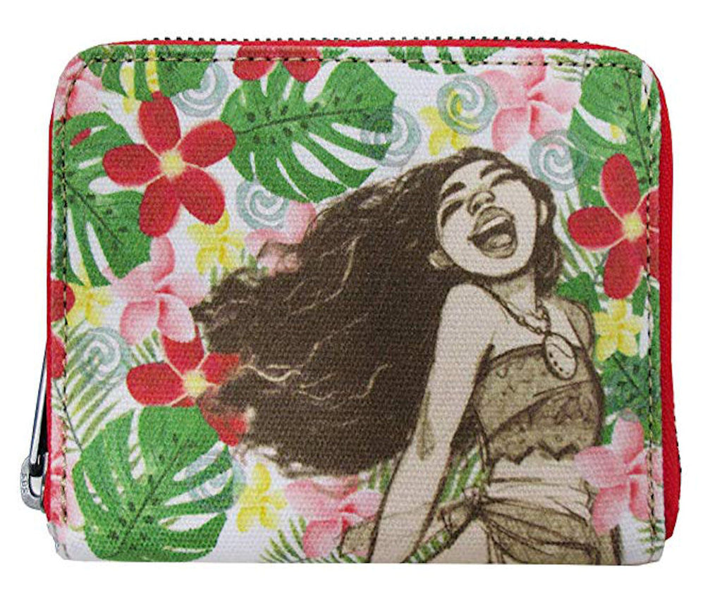 Loungefly - Disney MOANA  - Floral Canvas and Burlap Zip Around Wallet