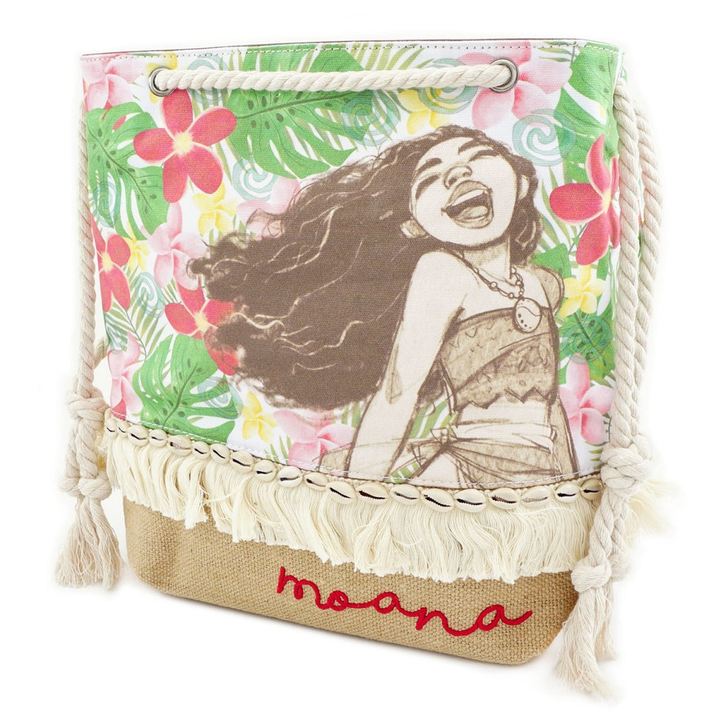 Loungefly - Disney MOANA  - Floral Canvas and Burlap Tote Bag