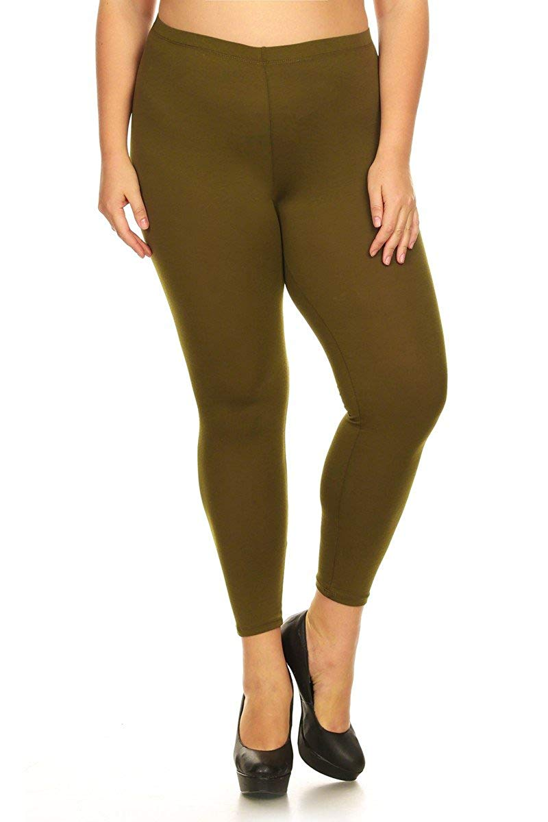 Ambiance Apparel Women's High Rise Plus Size Legging Pants (3X, Olive)
