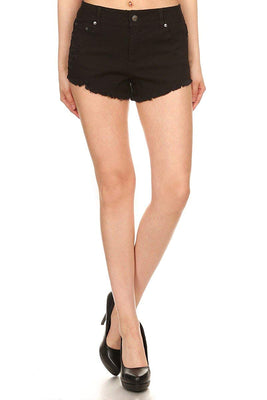 Ambiance Apparel Juniors Mid Rise One Button Crochet Trimmed Shorts