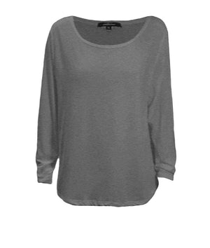 Plus Size Basic Cotton Poly Scoop-Neck Long Sleeve Hi-Lo Top 1XL Charcoal Grey