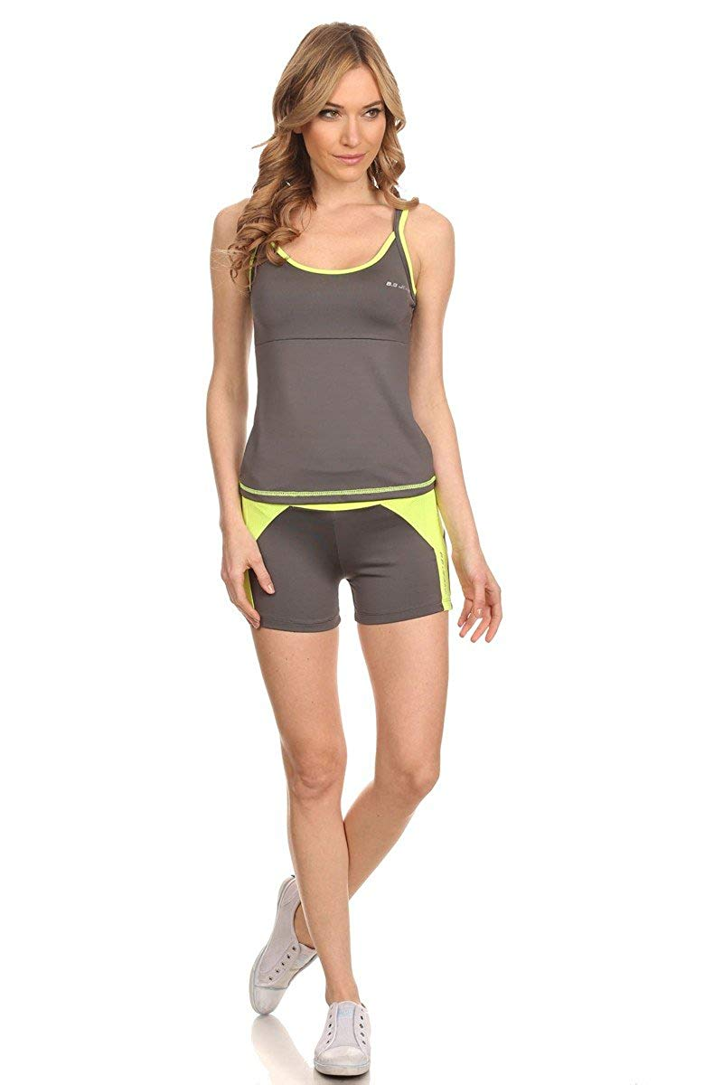 BB Jeans Women's 2 Piece Athletic Exercise and Fitness Set