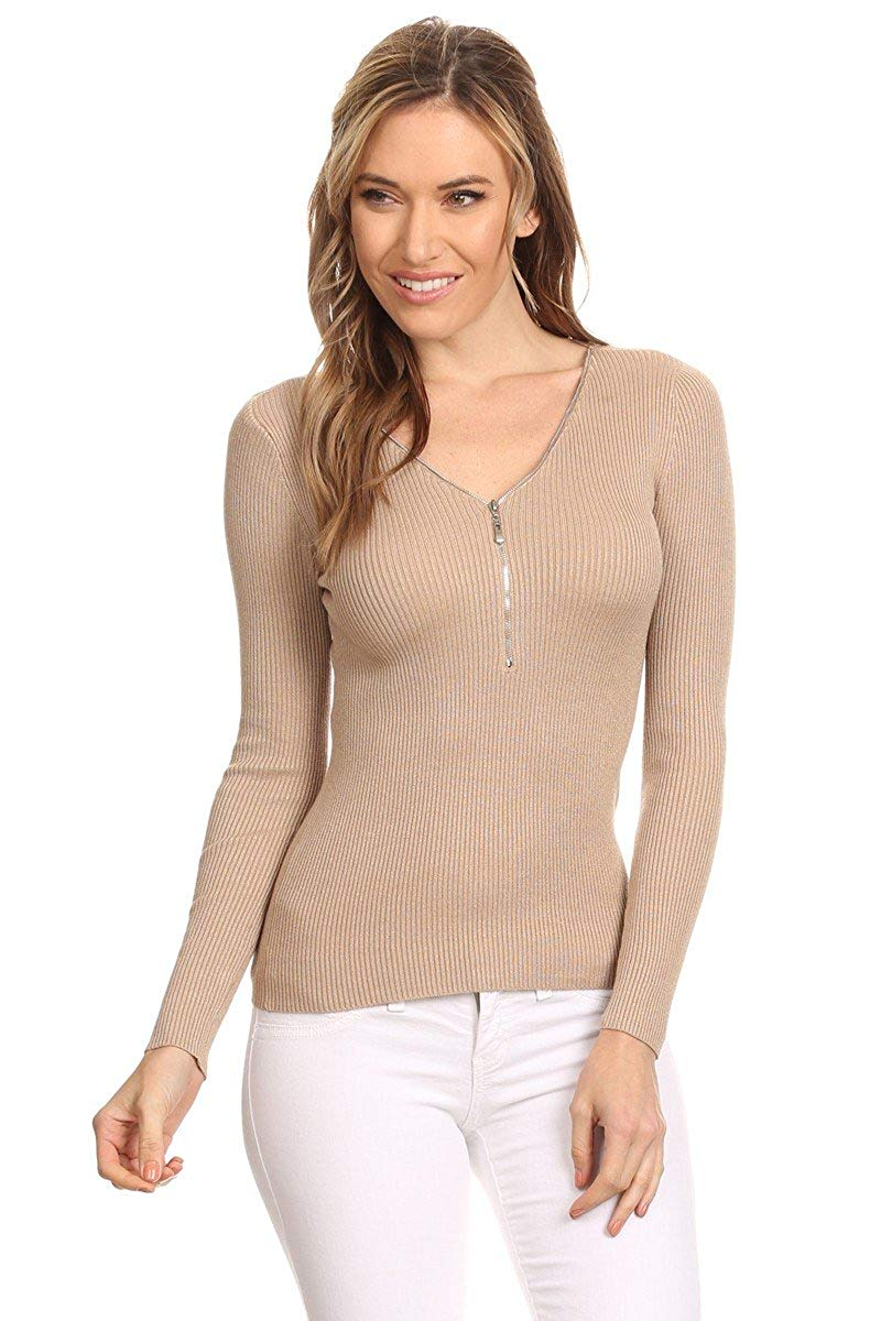 Ambiance Apparel Women's Junior Pullover Zip Up Long Sleeve Sweater