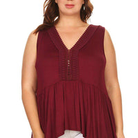 Ambiance Apparel Women's Plus Size Sleeveless Solid Neck V-Neck Blouse