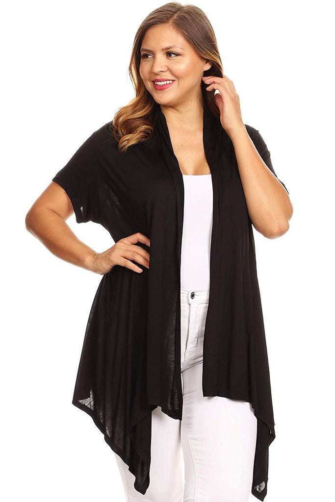 0ba521e9741 Ambiance Apparel Plus Size Solid Long Body Loose Fitting Short Sleeve  Cardigan Sweater