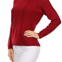 Ambiance Apparel Women's Crew Neck Cable Knit Long Sleeve Tunic Sweater