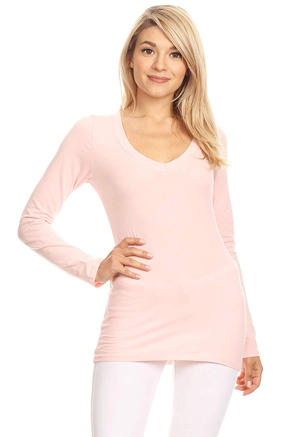 Ambiance Apparel Women's Long Sleeve V-Neck Pull On Lightweight Cotton Sweater