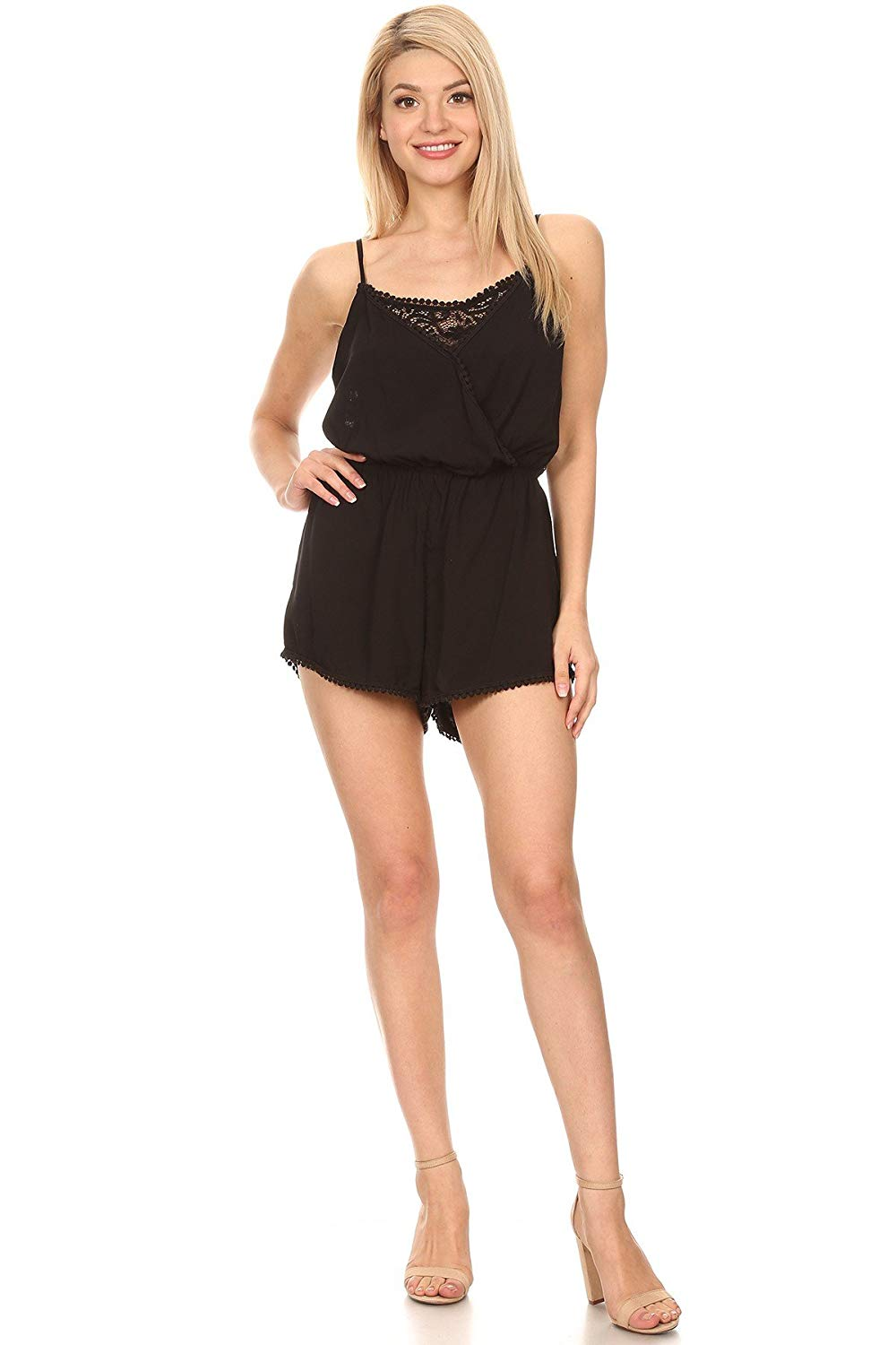 Ambiance Apparel Women's Junior's Wrapped Relaxed Round Neck Romper