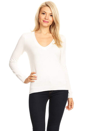 Ambiance Women's Long Sleeve V Neck Sweater Top