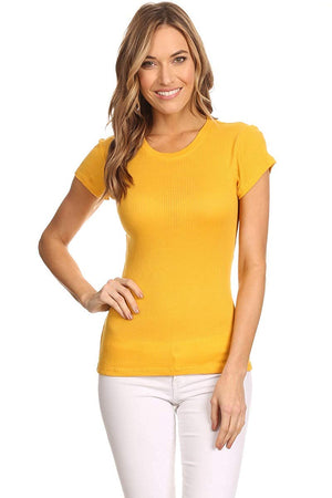 Ambiance Apparel Solid Short Sleeve Crew Neck Ribbed Top
