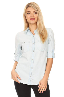 wax jean Women's Classic Denim Chambray Button Down Shirt