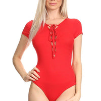Ambiance Apparel Junior Micro Rib Knit Lace Up Snap Bodysuit