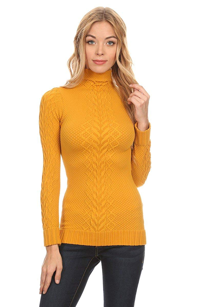 Itzon Junior's One Size Long Sleeve Turtleneck Sweater (One Size, Mustard)