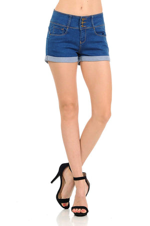 Wax Women's Juniors Perfect Fit Mid-Rise Denim 3 Button Shorts with Free Bra