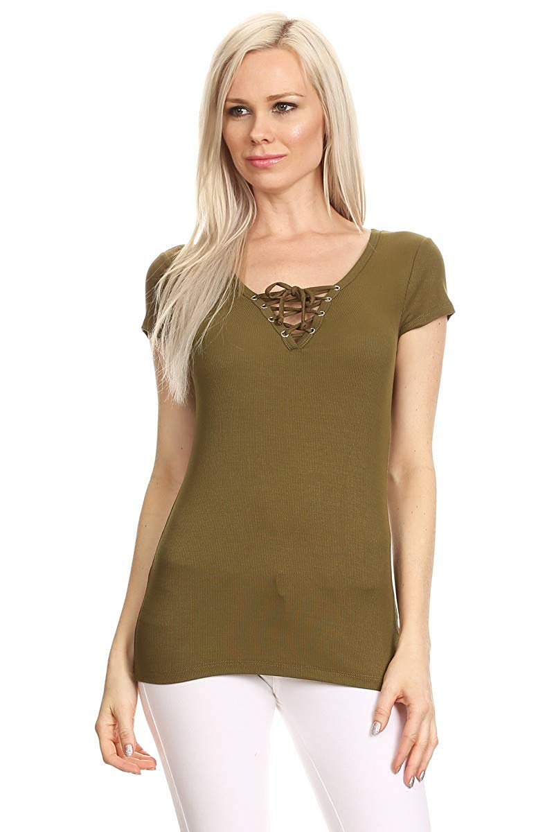 Ambiance Apparel Women's Junior Ribbed Lace up Cap Sleeve V-Neck Top