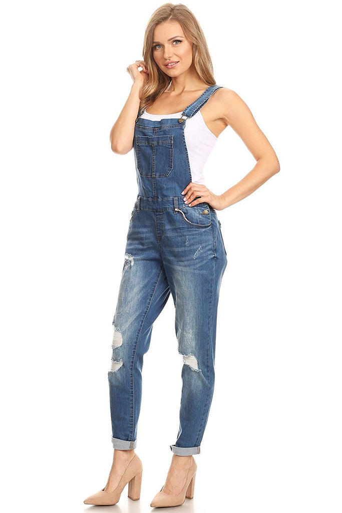 22447fdbfaf wax jean Women s Junior Ankle Length Skinny Leg Distressed Denim Overalls