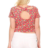 Ambiance Apparel Plus Size Floral Print Short Sleeve Crop Top with Scoop Neck
