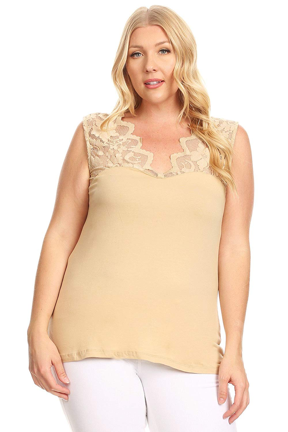 Ambiance Apparel Women's Plus Size Lace Sleeveless Solid Knit Contrast Top