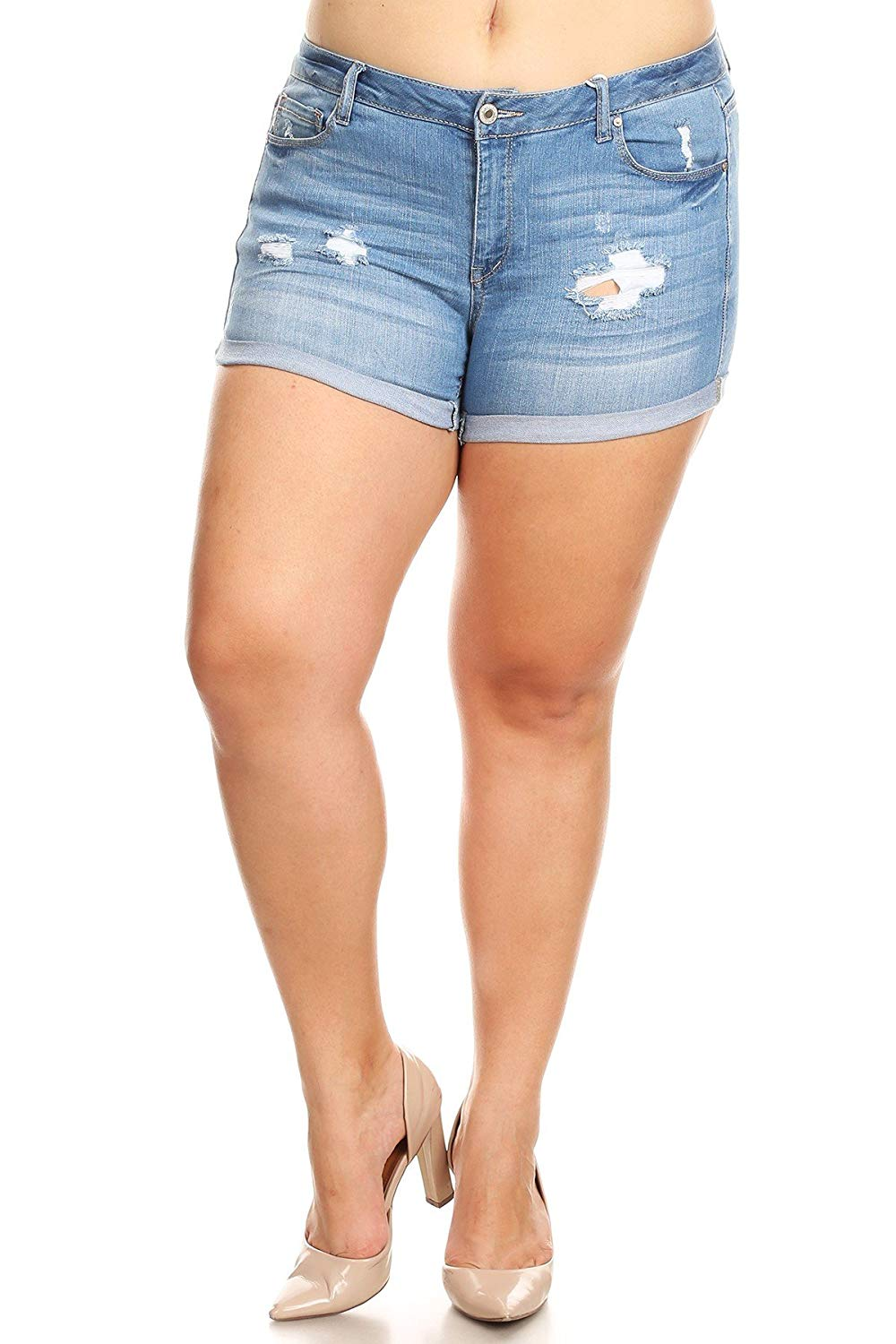 Sexy Plus Size Denim Jean Shorts with Rolled Hems