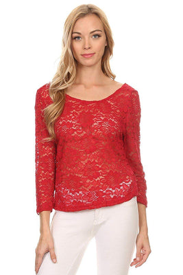 Ambiance Apparel Lace Plus Size 3/4 Length Red Low Back Blouse