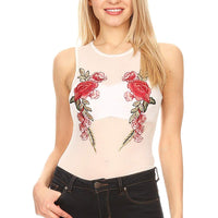Ambiance Apparel Junior's Sheer Sleeveless Floral Embroidery Bodysuit