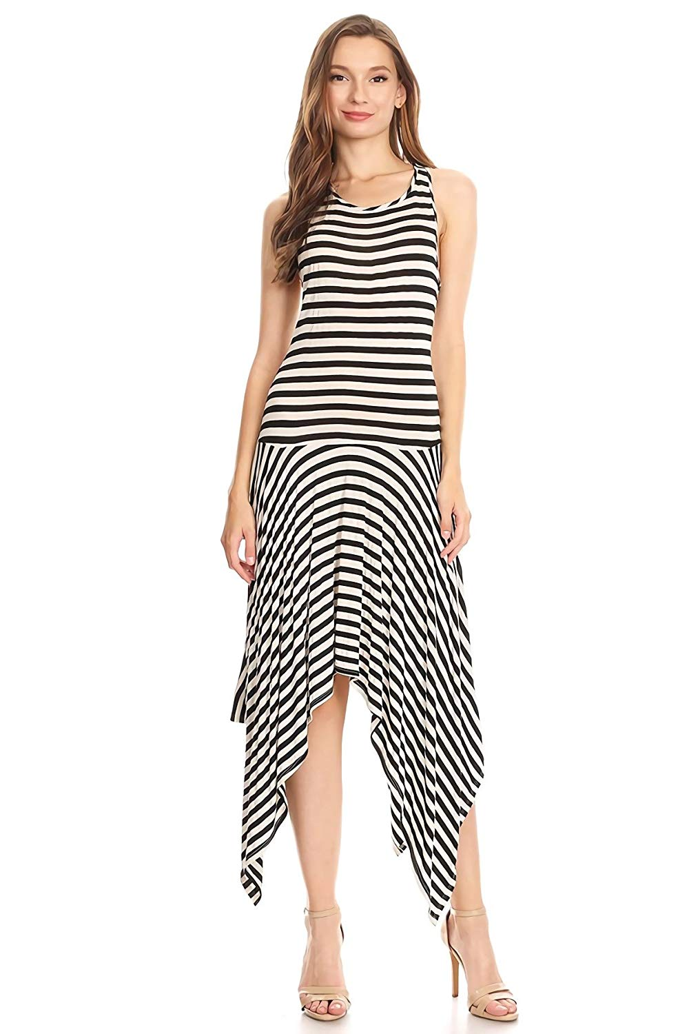 Women's Striped Jersey Knit A-line Dress
