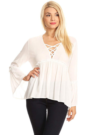 Ambiance Women's Boho Bell Sleeve V Neck Blouse