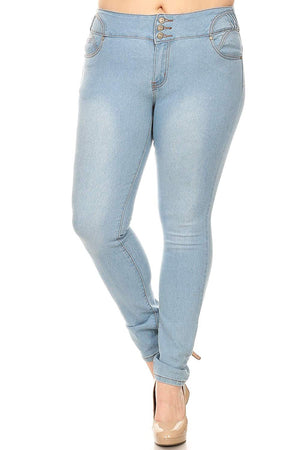 Women's Plus Size High Waite Skinny Jeans Striped Whit Utility Pockets