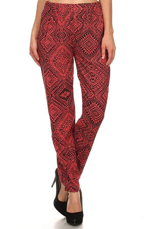 Ambiance Apparel Long Full Length Print Pants with Elastic Waistband