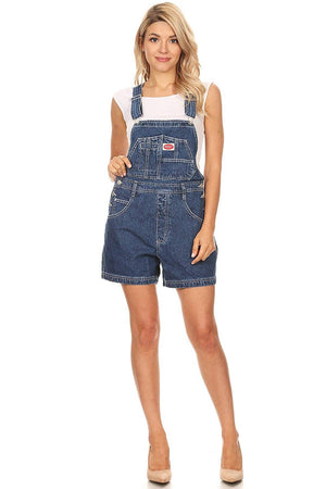 Revolt Certified Women's Short Denim Overalls with Adjustable Straps