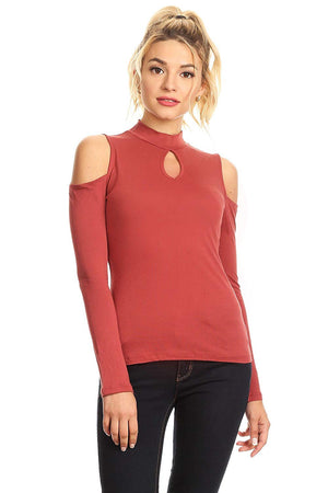 Ambiance Apparel Long Sleeve Cold Shoulder Key Hole Top