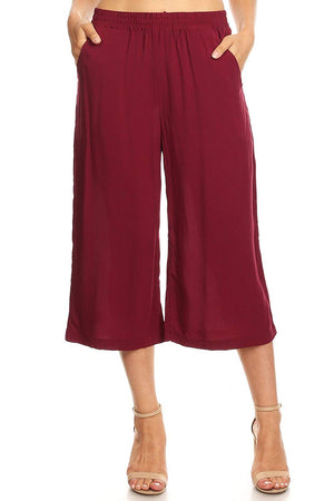 Ambiance Apparel Women's Juniors Wide Leg Culotte Pants