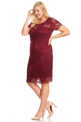 Ambiance Apparel Lace Plus Size Burgundy Dress